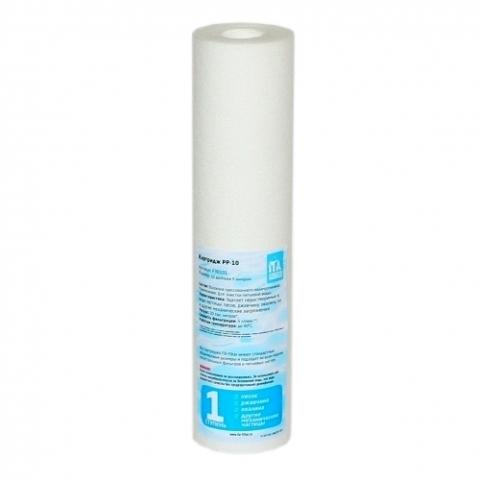 Картридж PP-10 - 5 микрон SL10 (ИТА), арт.F30101-5  Изготовлен из волокон прессованного полипропилена для холодной воды. Подходит ко всем системам со стандартом корпуса 10 дюймов. Используется в питьевых системах, магистральных фильтрах, системах обратного осмоса.  Характеристики:      Размер картриджа: 10