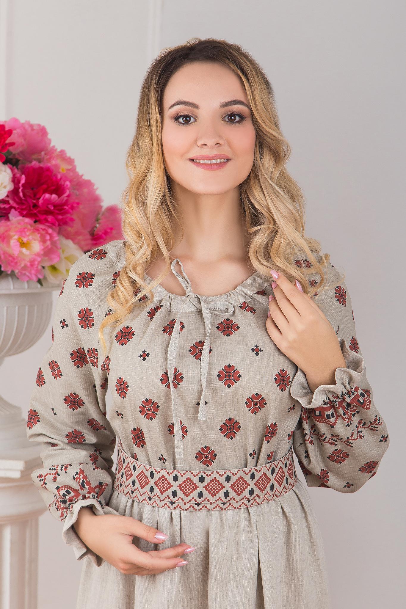 Платье традиционное Льняное поле приближенный фрагмент