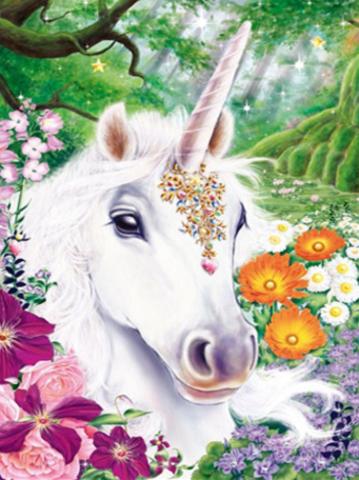 Алмазная Мозаика 40x50 Сказочный белый единорог