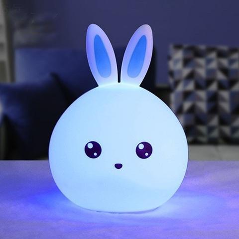 Силиконовый RGB светильник-ночник Rabbit silicone lamp зайчик  голубой