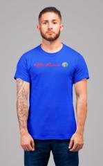 Мужская футболка с принтом Альфа Ромео (Alfa Romeo) синяя 002