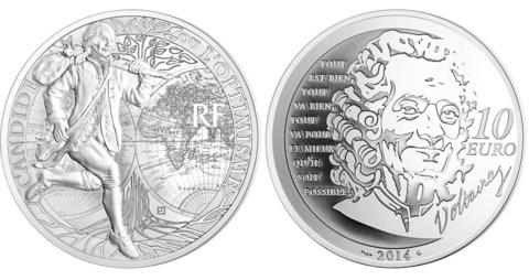 10 евро 2014 год. Франция . Кандид Вольтер. Серебро. PROOF