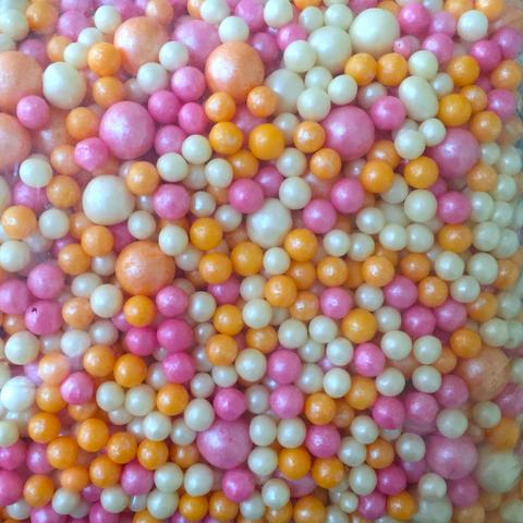 Посыпка сахарная ШАРИКИ РАЗНОГО ДИАМЕТРА 50гр МИКС 177  (розовый\персик\жемчуг)