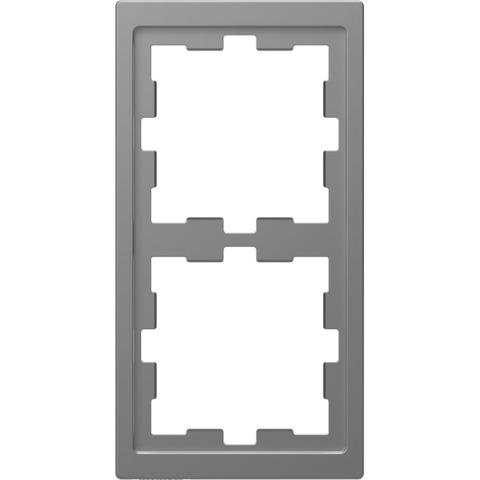Рамка на 2 поста. Цвет Нержавеющая сталь. Merten. D-Life System Design. MTN4020-6536