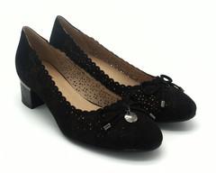 Туфли женские черные замшевые перфорация на устойчевом каблуке