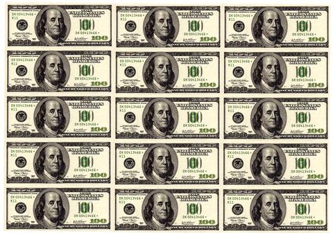 Печать на сахарной бумаге, Набор Купюра 100 долларов 3