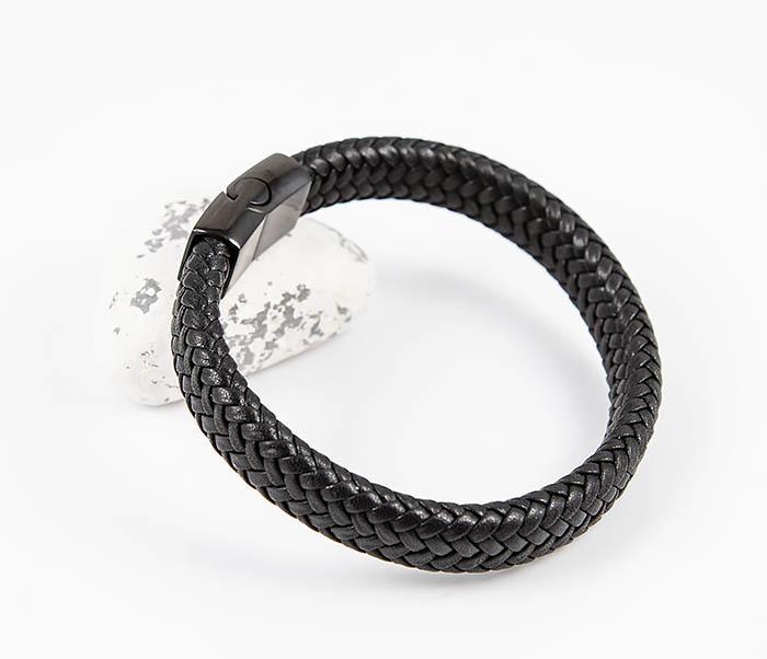 BM530-1 Плетеный мужской браслет из черной кожи фото 05