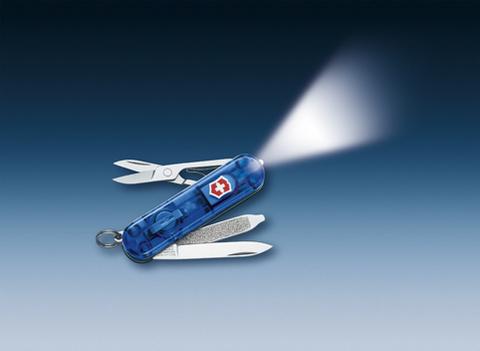 Нож-брелок Victorinox Classic SwissLite, 58 мм, 7 функций, полупрозрачный синий123