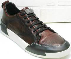 Мужские туфли кеды натуральная кожа Luciano Bellini C6401 MC Bordo.