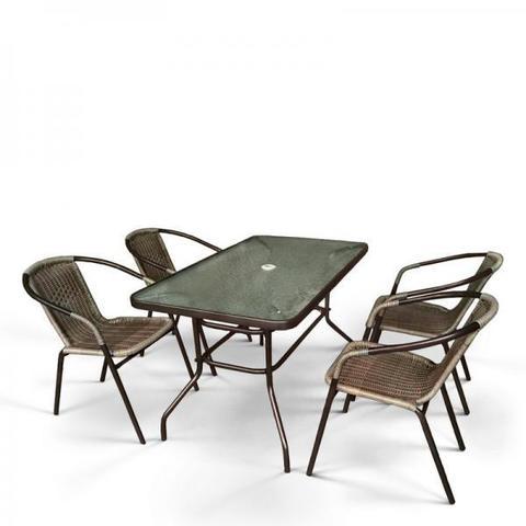 Комплект мебели для летнего кафе Николь-3B CDC01/CDT016-120х70 Brown (4+1)