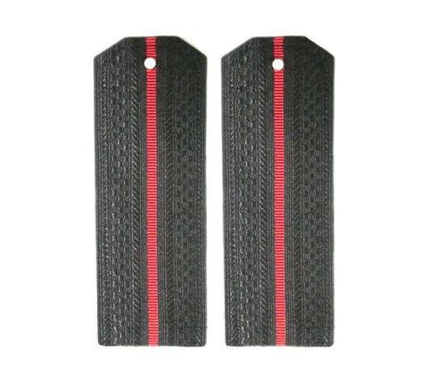 Погоны черные МП с 1 красным просветом (пог. лента,на пластике)