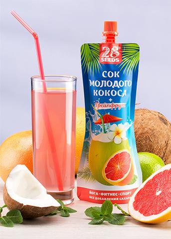 Сок молодого кокоса + Грейпфрут, без сахара, 250 г