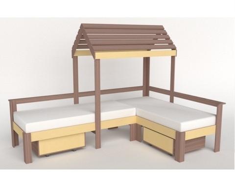 Кровать-домик АВАРА-3 с ящиками левая 1700-700 /2552*1800*1832/
