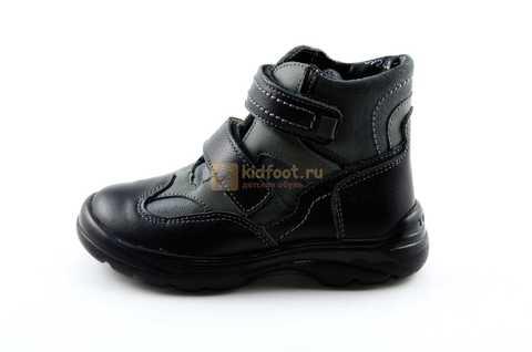 Ботинки Тотто из натуральной кожи демисезонные на байке для мальчиков, цвет черный. Изображение 3 из 11.