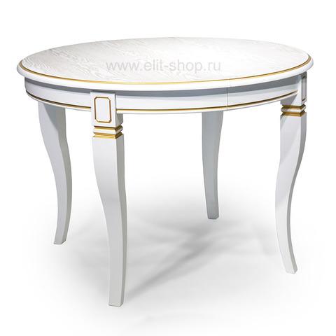Стол КАДИС 105-Ш Белый с золотой патиной / 105(163)х105см
