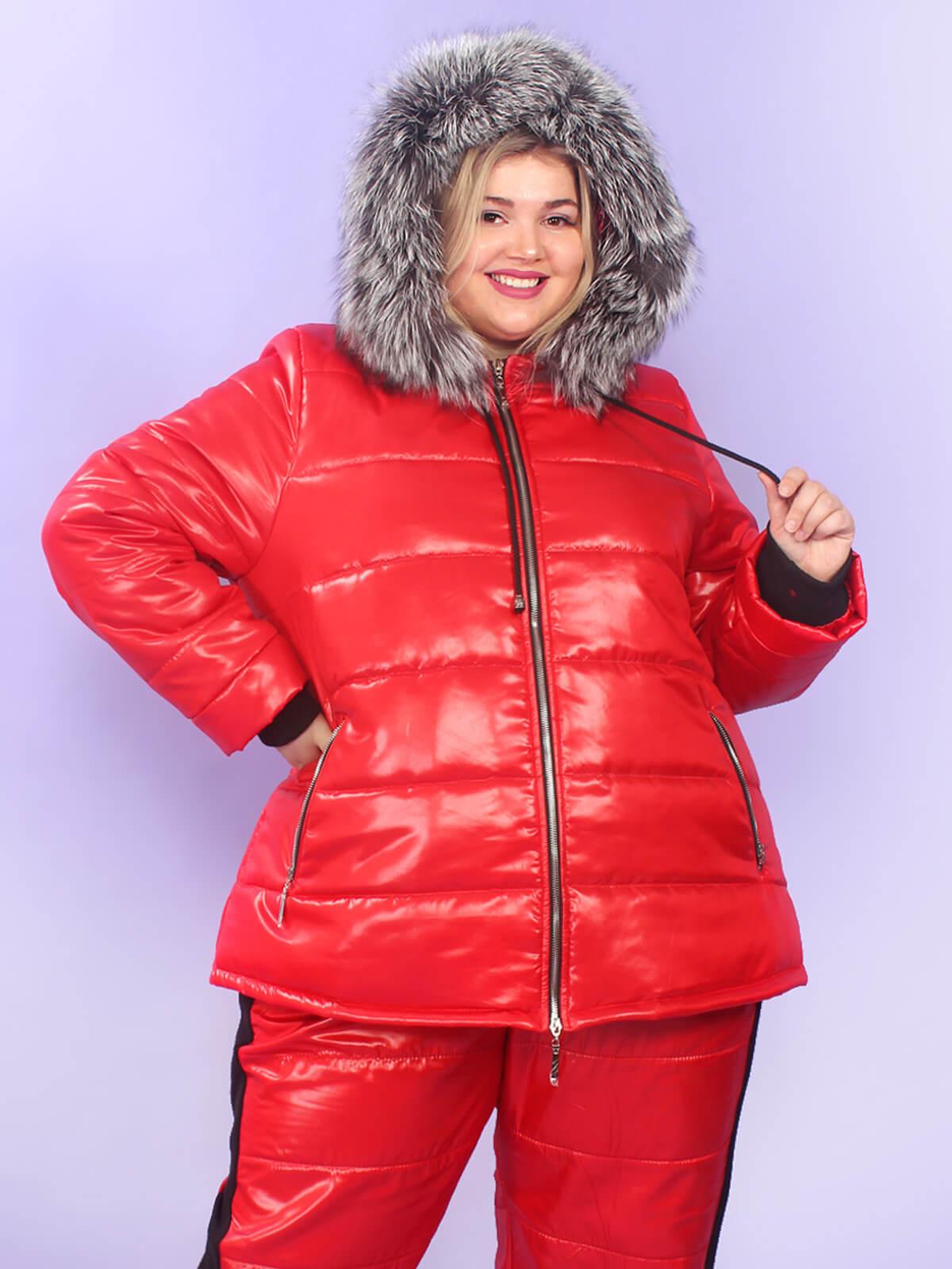 Куртка с мехом на капюшоне большие размеры
