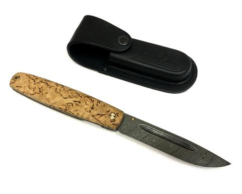 Складной нож Якутский, дамасская сталь, карельская береза