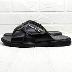 Мужские сандалии шлепки на лето Brionis 155LB-7286 Leather Black.