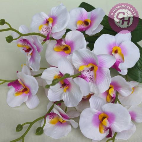 Орхидея искусственная, букет 5 веток, 44 см.