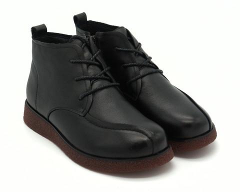 Ботинки кожаные со шнуровкой с молнией
