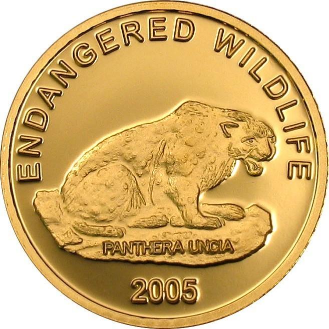 Золотая монета 2005 года выпуска Монголия 1000 тугриков, Снежный леопард, AU-999, 1,24 гр. диам. 13,92 мм, тираж 25000, proof 100% гарантия подлинности.