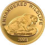 2005 год 1000 тугриков AU-999, Монголия Снежный леопард, 1,24 г