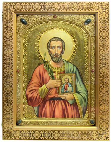 Большая Живописная икона Святой мученик Евгений Севастийский 42х29см на кипарисе в березовом киоте