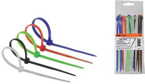Хомуты 2,5х100 цветные набор  5 цветов (черный, белый, красный, синий, зеленый) (25 штук) TDM
