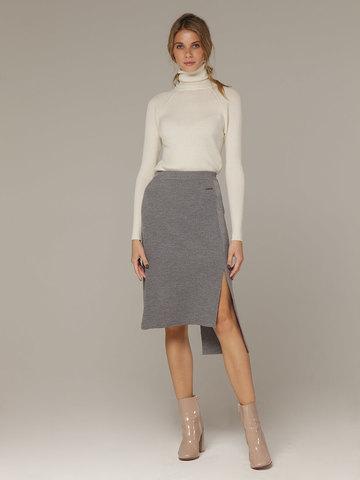 Асимметричная юбка прямого силуэта фактурной вязки - фото 1
