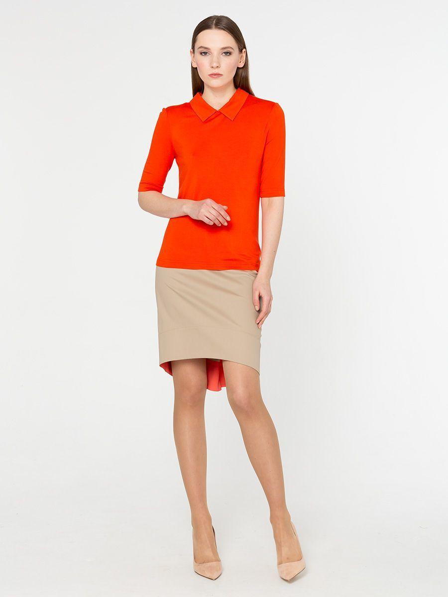 Юбка Б791-716 - Прямая хлопковая юбка на лето. Асимметричная линия низа- задняя часть удлинена и изнанка оформлена контрастной тканью. Смотрится стильно и необычно