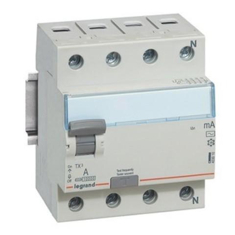 Выключатель дифференционного тока УЗО ВДТ TX - 4П - 25 А - тип AC - 300 мА - 4 модуля. Legrand (Легранд). 403042