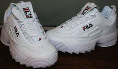 Женские кожаные кроссовки Fila Disruptor 2 all white RN-91175.