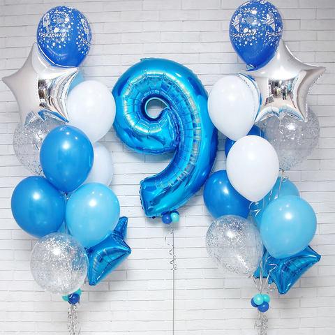 синие шары, шары цифры ,  шары звезды