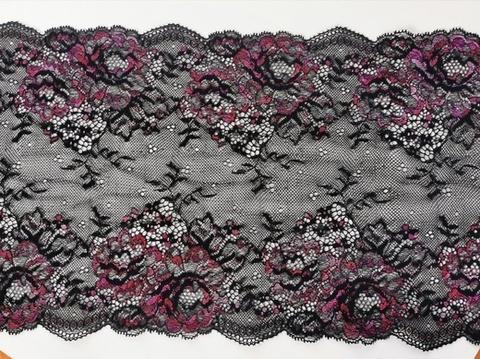 Эластичное кружево, ОПТ, черное и малиновые цветы, 21см (Артикул: EK-2120), м