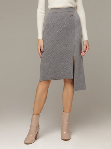 Асимметричная юбка прямого силуэта фактурной вязки - фото 2