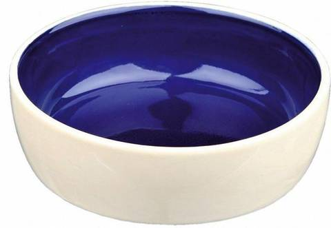 Trixie миска керамическая для кошки крем - голубая 12см 250мл