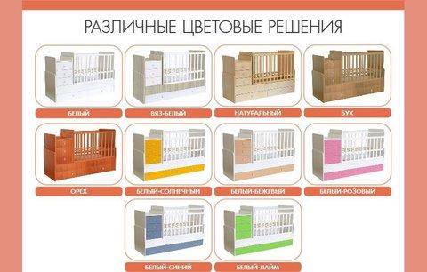 Кроватка детская Polini kids Simple 1100 с комодом, белый-роза