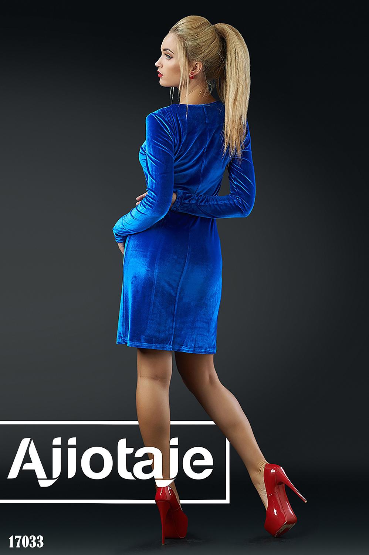 Велюровое платье миди цвета электрик