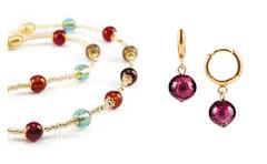 Комплект Carnavale Oro Piccolo (фиолетовые серьги Piccolo, ожерелье)