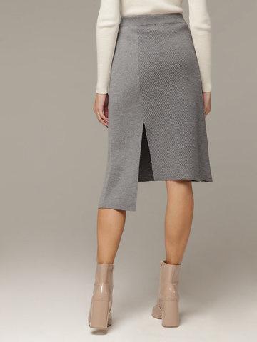 Асимметричная юбка прямого силуэта фактурной вязки - фото 4