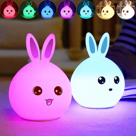 Силиконовый RGB светильник-ночник Rabbit silicone lamp зайчик розовый