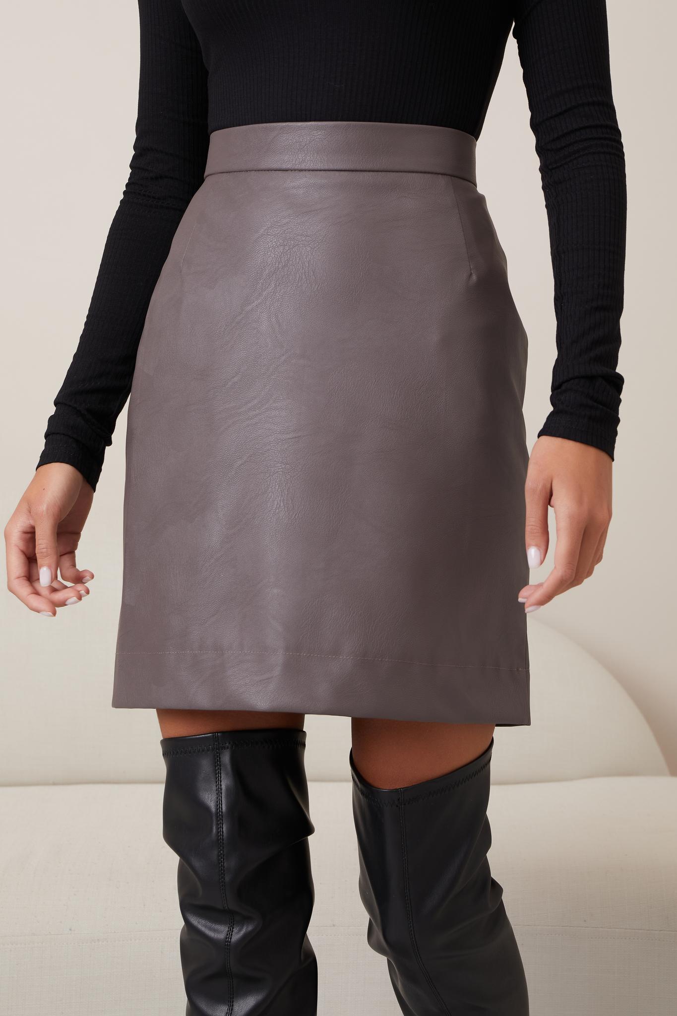 Кожаная мини-юбка с подкладом (графит)