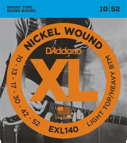 D`ADDARIO EXL140 NICKEL WOUND LIGHT TOP/HEAVY BOTTOM 10-52