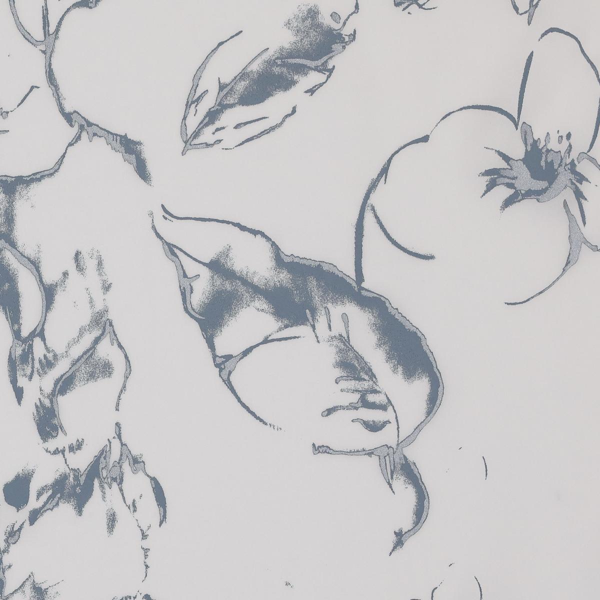 Белый крепдешин с шелкографией оттенка свинцового неба
