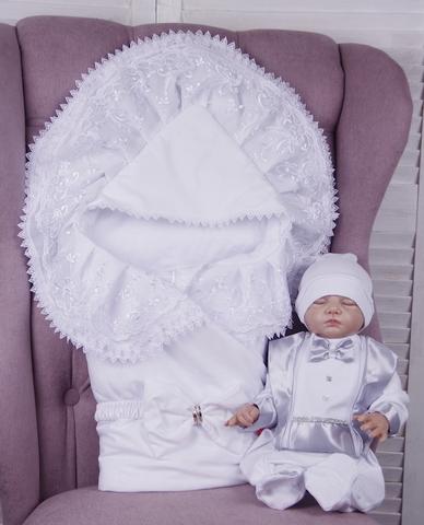 Комплект на выписку для мальчика Волшебный белый с серым