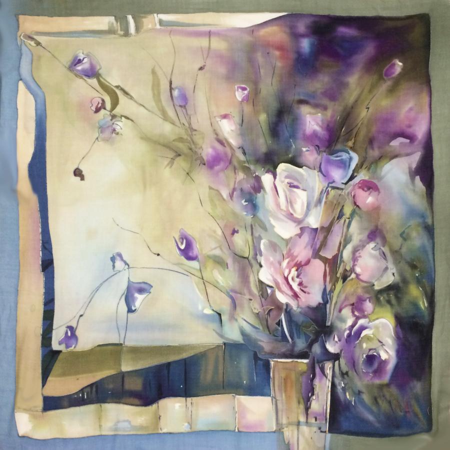 Шерстяной платок батик Парнасские розы С-77-sh