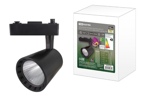 Светильник трековый однофазный LED TRL-01-015-WB 15 Вт, 24°, 3000 К, 80 Ra, черный, TDM