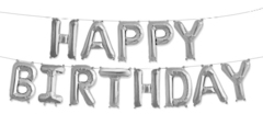 Фольгированная надпись HAPPY BIRTHDAY серебряная