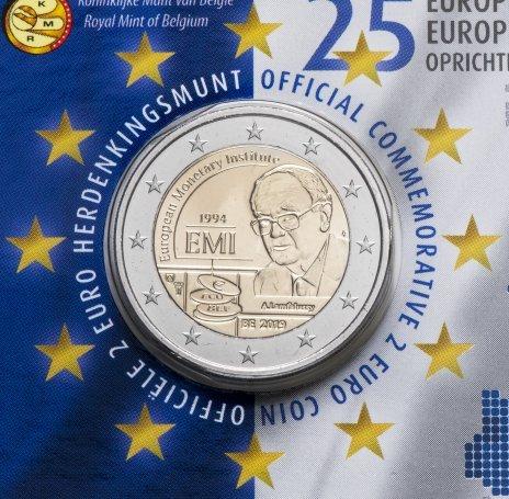 2 евро 2019 Бельгия - 25 летие Европейского валютного института (в буклете)