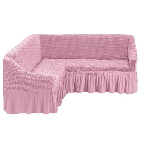 Чехол на угловой диван, розовый